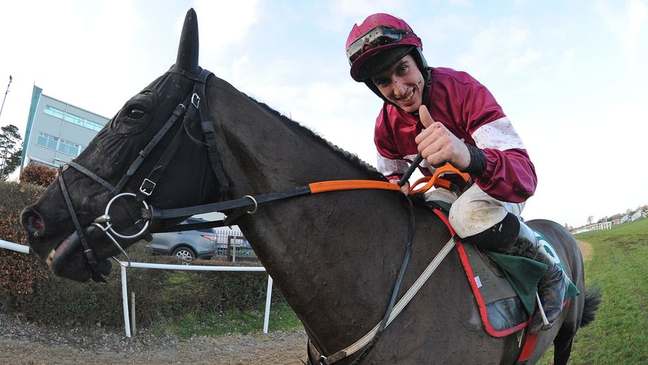 Jack Kennedy celebrates Delta Work's Paddy Power Irish Gold Cup win