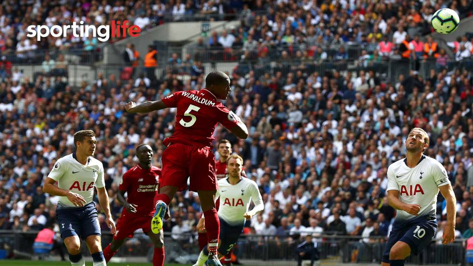 Gini Wijnaldum heads Liverpool ahead against Tottenham at Wembley