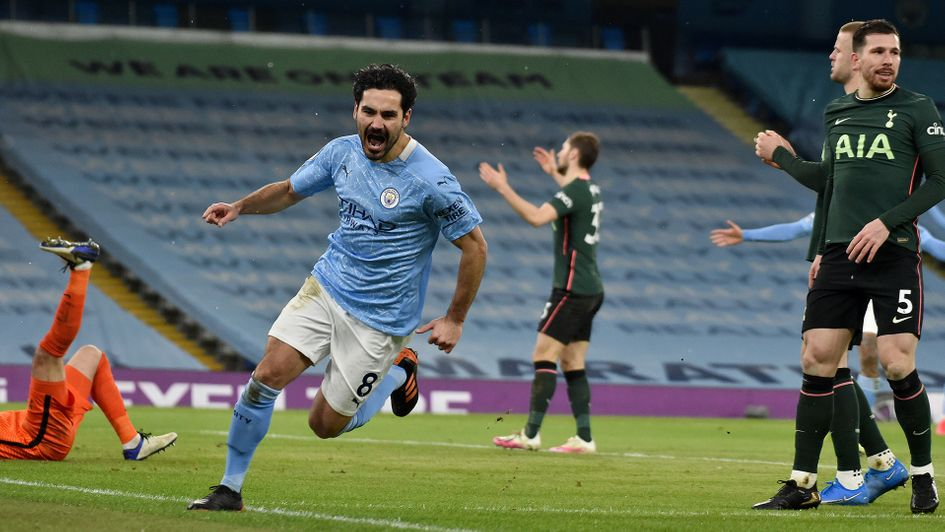 Ilkay Gundogan celebrates his goal against Tottenham