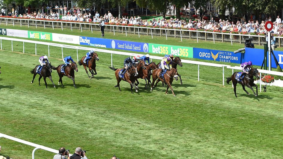 U S Navy Flag (right) wins the July Cup