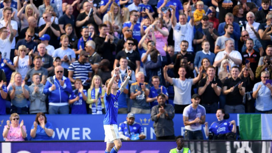Leicester's James Maddison celebrates his first Premier League goal of the season