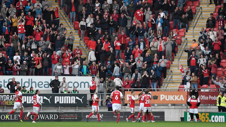Rotherham celebrate after scoring against Stoke