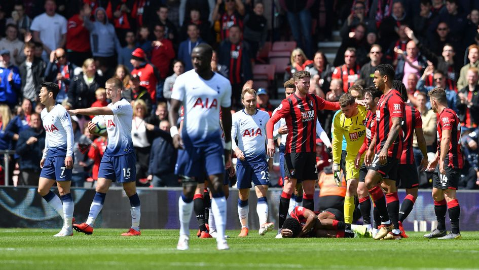 Son Heung-Min is sent off after going at Bournemouth's Jefferson Lerma