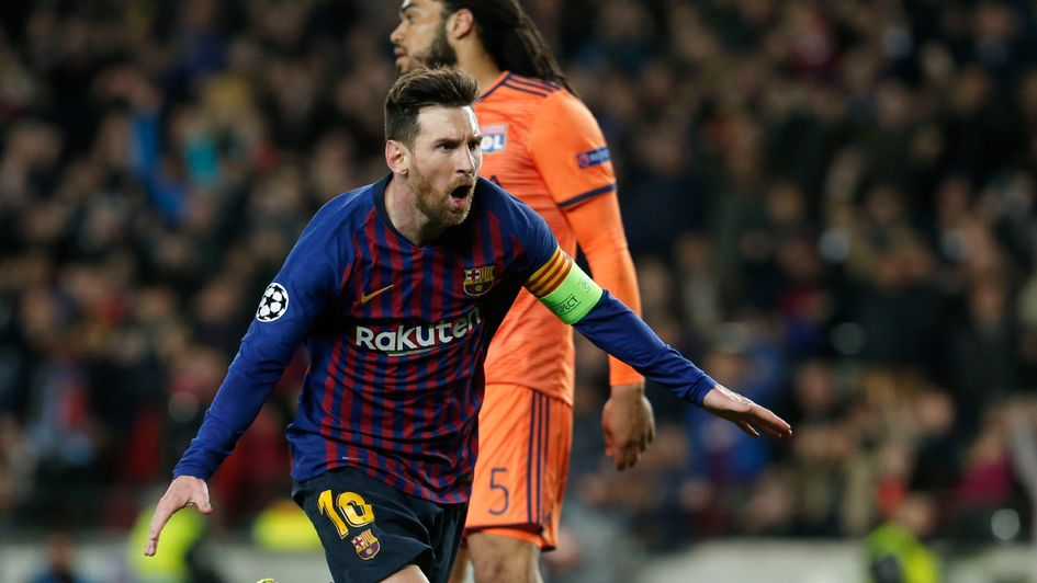 Lionel Messi: The Barcelona ace celebrates his double against Lyon in the Champions League